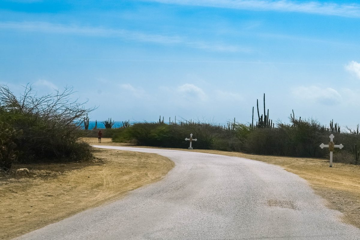 Bereits auf der Zufahrtsstraße von Noord markieren weiße Kreuze am Straßenrand den Weg zur Alto Vista Kapelle im Norden von Aruba - © James Camel / franks-travelbox