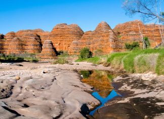 Die ursprüngliche Bergkette der Bungle Bungle im Purnululu-Nationalpark entstand vor etwa 20 Millionen Jahren und wurde zu rundlichen Sandsteintürmen geschliffen, Australien - © Keith Wheatley / Fotolia