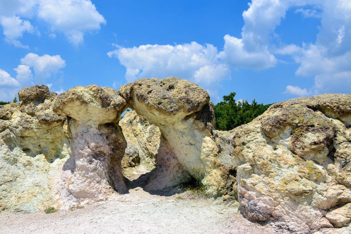 Durch die unterschiedliche Färbung von Stamm und Hut erinnern die steinernen Pilze bei Beli Plast noch stärker an echte Pilze, Bulgarien - © FRASHO / franks-travelbox