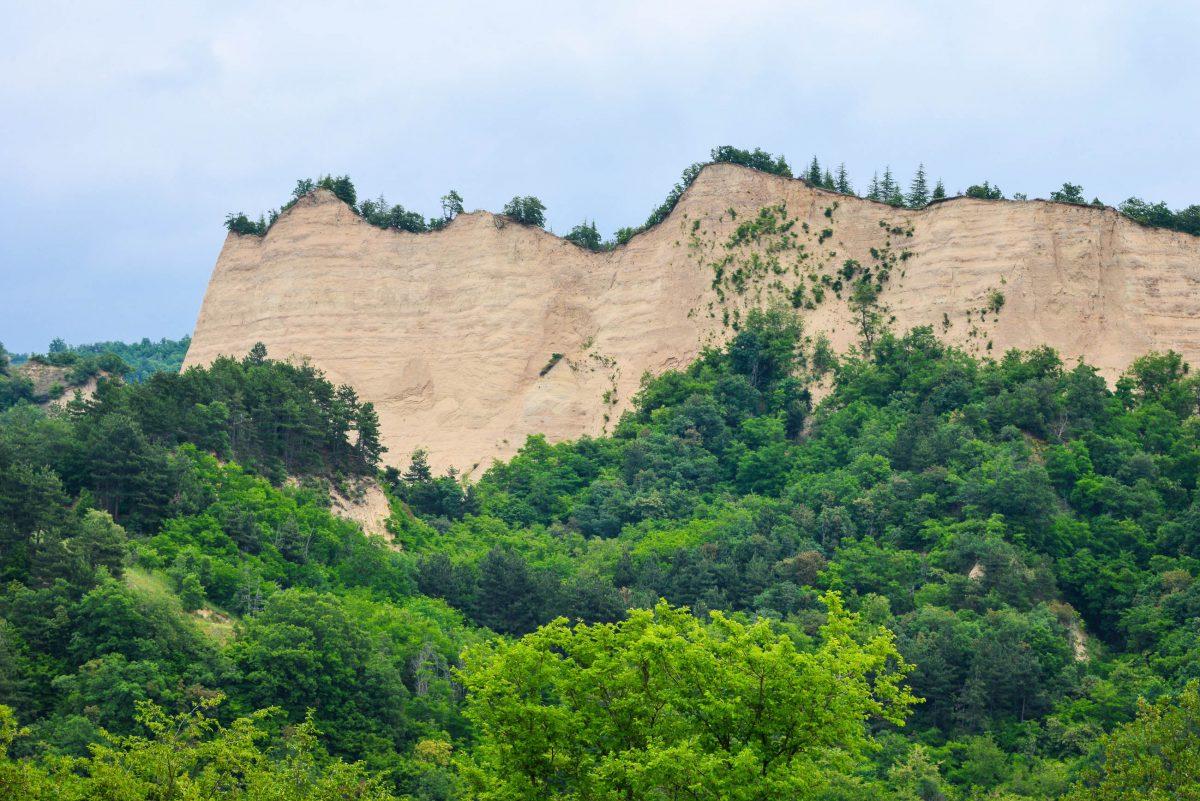 Die Melnik-Pyramiden erreichen eine Höhe von bis zu 100 Metern und werden von Laubholz, Gebüsch und Gräsern gekrönt, Bulgarien - © FRASHO / franks-travelbox.com