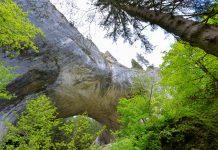 Unterhalb der Wunderbrücken von Bulgarien wölbt sich der mächtige Fels direkt über den Köpfen der Besucher - © FRASHO / franks-travelbox.com