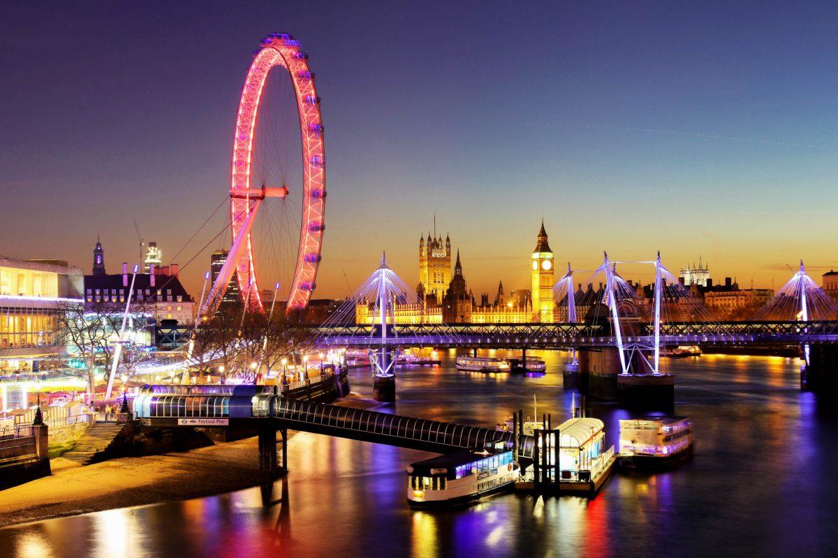 Abendlicher Blick auf das London Eye und im Hintergrund das Houses of Parliament in London, Großbritannien - © Dan Breckwoldt / Shutterstock