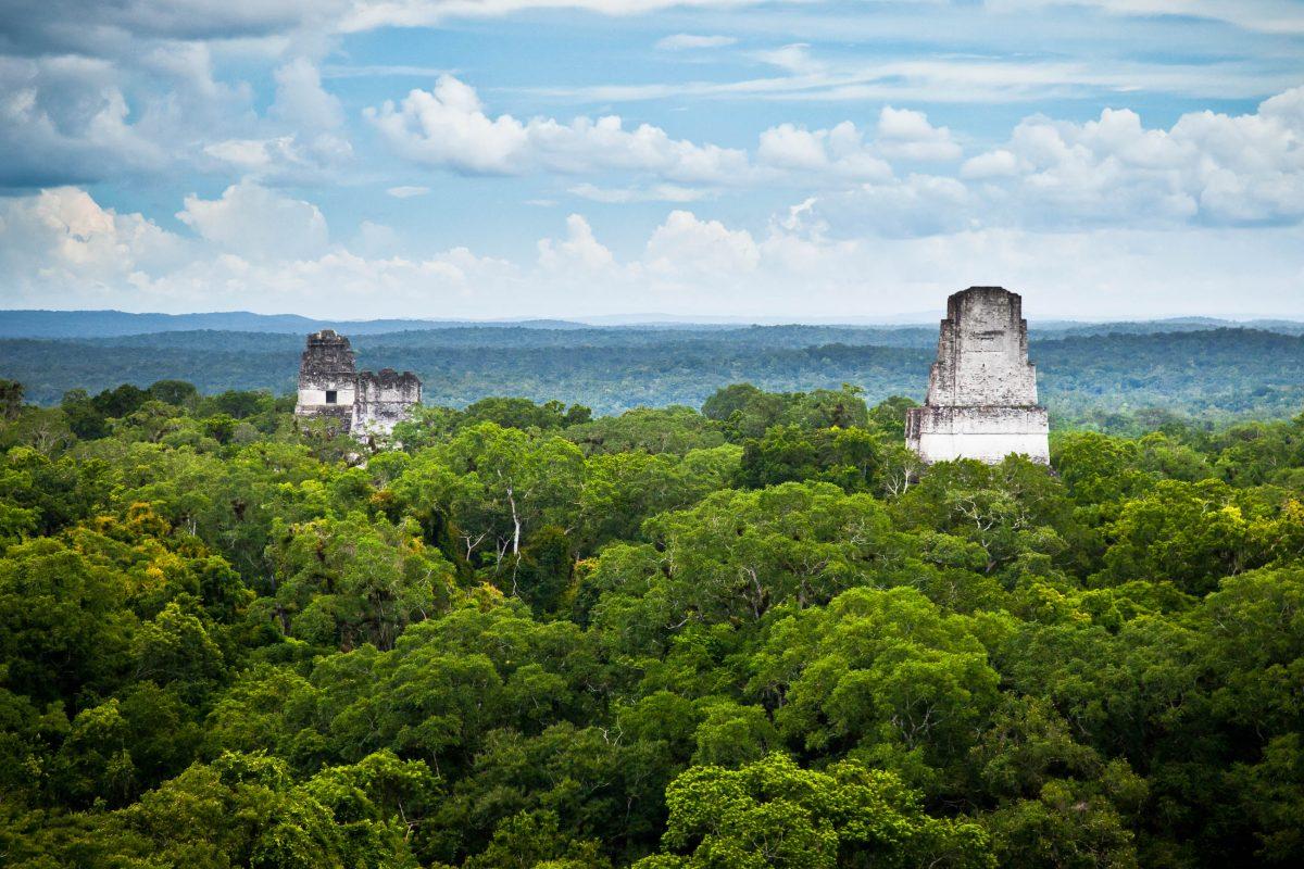 Blick vom gigantischen Tempel IV auf die Maya Ruinen, Tikal Nationalpark, Guatemala - © Zai Aragon / Shutterstock