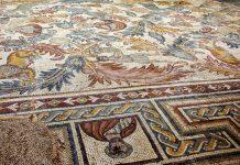 Kunstvoller Mosaikboden in der byzantinischen Moses-Gedächtnis-Kirche auf dem Berg Nebo, Jordanien - © flog / franks-travelbox