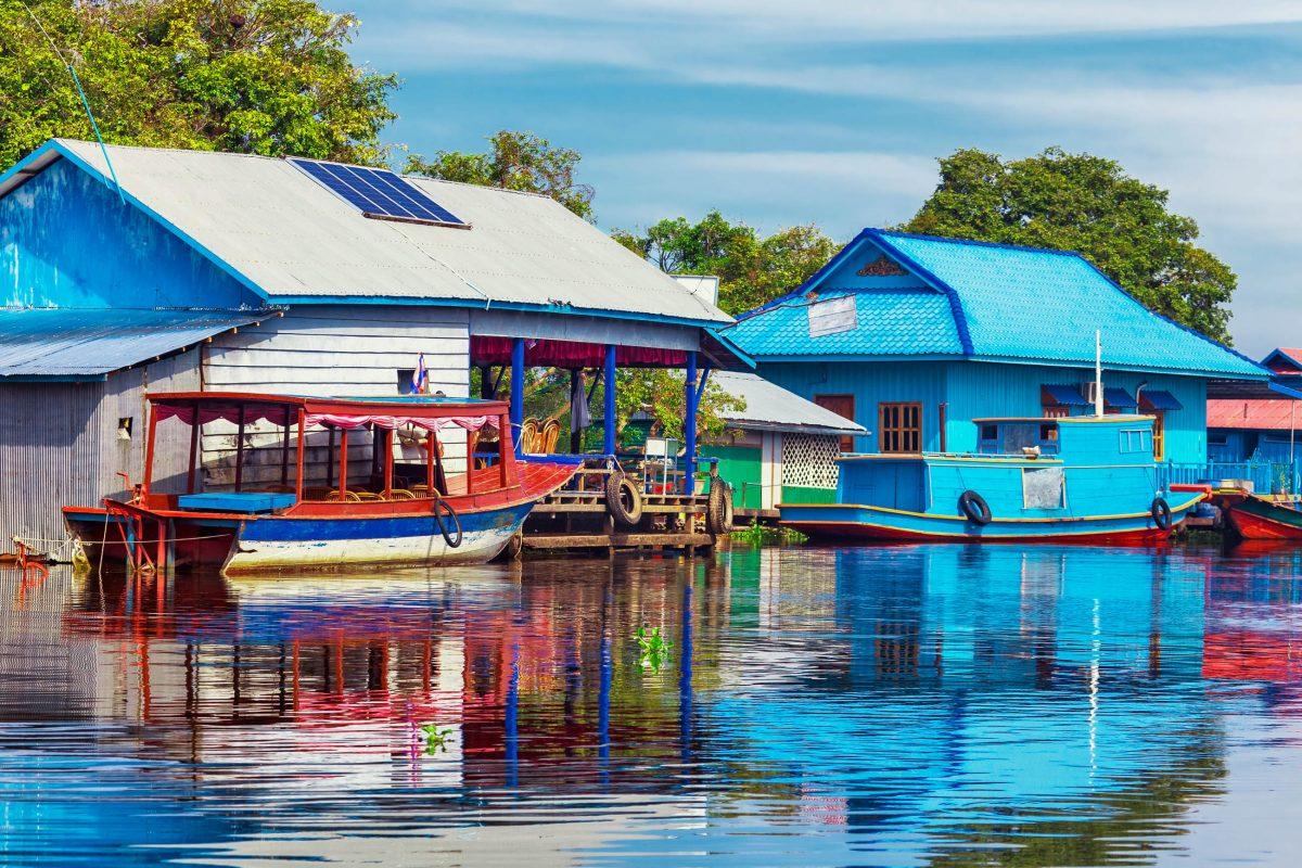 Ein Dorf auf dem Wasser am Tonle Sap See, Kambodscha - © Kushch Dmitry / Fotolia