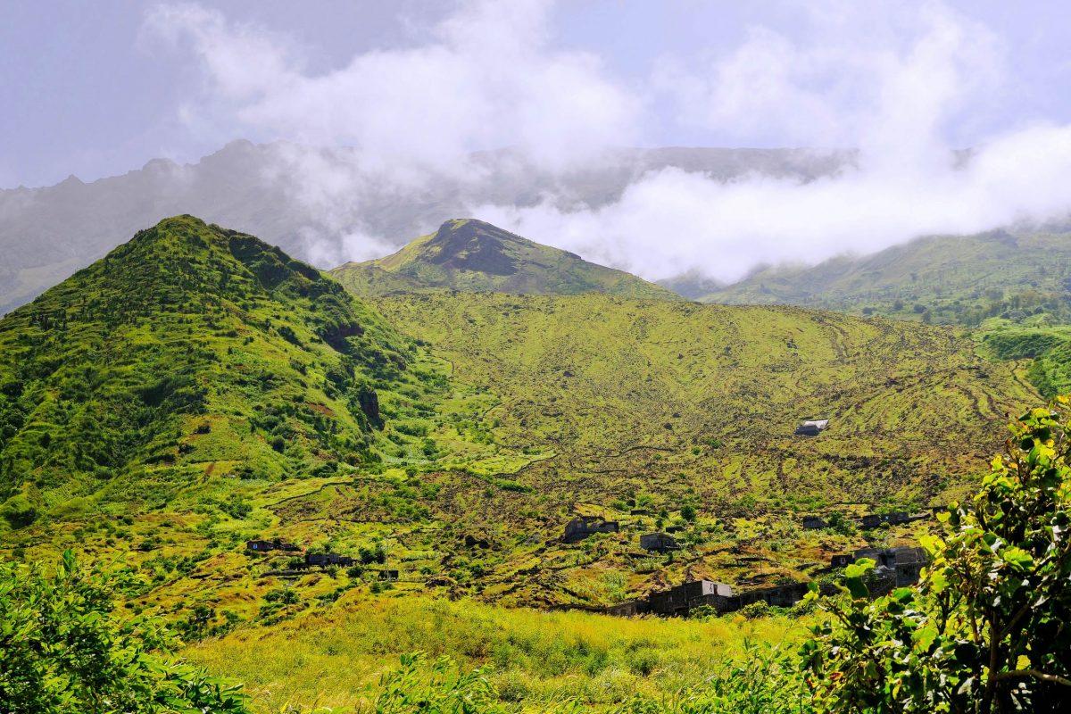 In der Umgebung von São Jorge zeigt sich die sonst schwarze, verbrannte Vulkaninsel Fogo von ihrer grünen Seite, Kap Verde - © Raul Rosa / Shutterstock