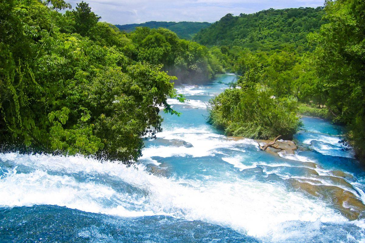 Die Kaskaden von Agua Azul (Blaues Wasser) machen ihrem Namen alle Ehre und bahnen sich auf einer Länge von 7km ihren Weg über 500 Kalksteinkaskaden, Mexiko - © lunamarina / Fotolia