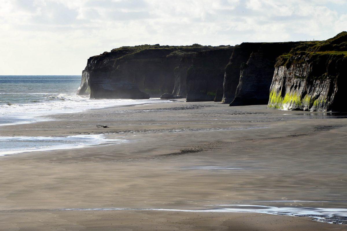 Die prachtvolle Szenerie am Patea Beach von Neuseeland erinnert mit den senkrecht aufragenden Felswänden ein wenig an die Cliffs of Moher in Irland - © FRASHO / franks-travelbox