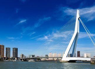 Die Erasmus-Brücke ist eine Schrägseilbrücke und verbindet die beiden Ufer des Nieuwe Maas und damit die Nord- und Südhälfte von Rotterdam, Niederlande - © Eric Gevaert / Shutterstock