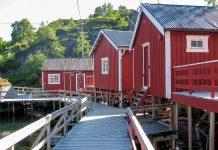 Ein Großteil der rund 40 verbliebenen Rorbuer von Nusfjord wird als malerisch-rustikale Unterkunft an Touristen vermietet, Norwegen - © FRASHO / franks-travelbox