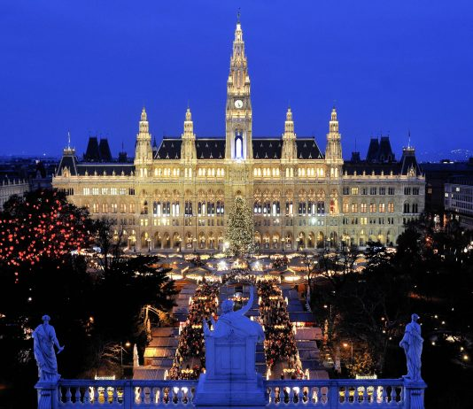 Blick vom Burgtheater über den Christkindlmarkt auf das weihnachtlich beleuchtete Wiener Rathaus, Österreich - © Martin Froyda / Shutterstock