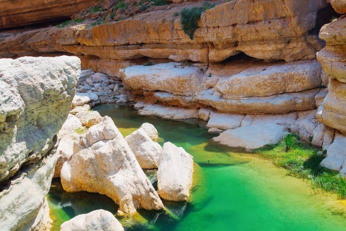 Das Wadi Shab zählt mit seinen senkrecht aufstrebenden Felswänden, smaragdgrünen Palmen und türkisblauen Pools zweifelsohne zu den schönsten Wadis im Oman - © Ivan Pavlov / Shutterstock