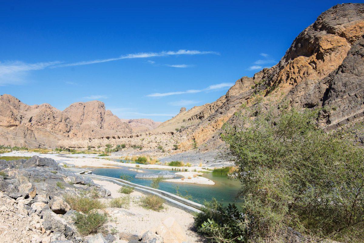 Im landschaftlich äußerst attraktive Wadi Suwayh findet man jede Menge Pools und Palmen die zu einem Stop einladen, Oman - © FRASHO / franks-travelbox