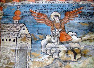 Wandmalerei des Erzengel Gabriel, der ein Kind vor dem Ertrinken rettet, in der Holzkirche von Bârsana, Rumänien - © ȚetcuMirceaRareș CC BY-SA3.0RO/W