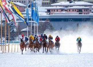 Im Februar werden auf dem zugefrorenen St. Moritzersee die legendären White-Turf-Pferderennen ausgetragen und sind ein Treffpunkt der High-Society aus aller Welt, Schweiz - © Tom-Hanisch / Fotolia