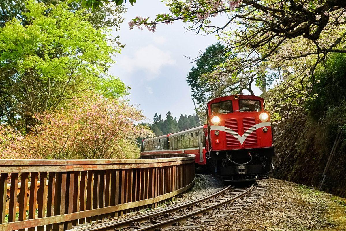 """Die Alishan Forest Railway ist eine Schmalspurbahn die in die Bergregion des Alishan (""""Heiliger Berg"""") hinaufführt. Sie überwindet dabei einen Höhenunterschied von 2.244 Metern Höhe, Taiwan - © elwynn / Shutterstock"""