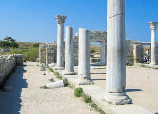"""Die """"1935-Basilika"""" der Ausgrabungsstätte Chersones auf der Halbinsel Krim wurde im Jahr 1935 entdeckt und stammt vermutlich aus dem 6. Jahrhundert, Ukraine - © Stepanyuchenko CC BY2.0/W"""