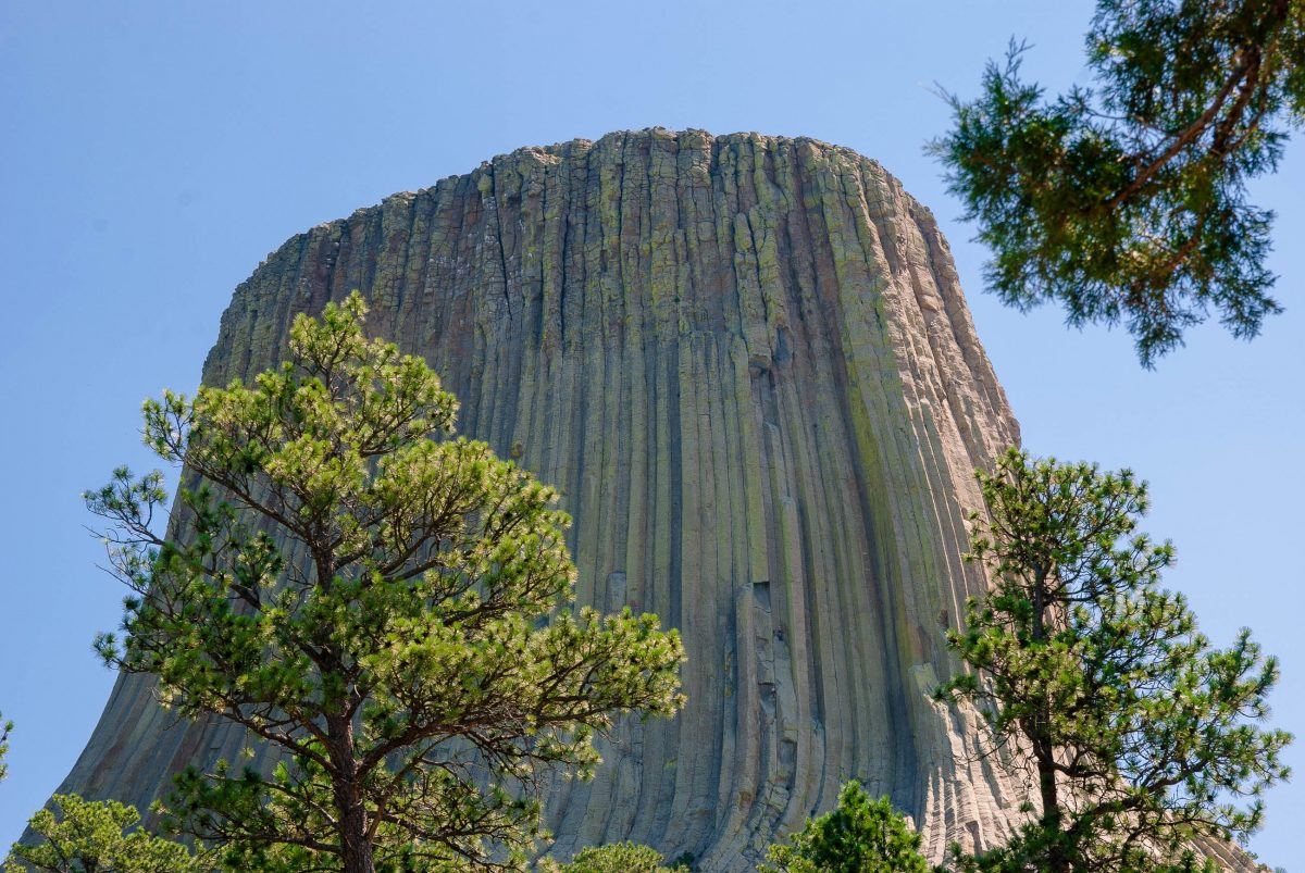 Mit einer Höhe von 265,5m und einem Durchmesser von fast 150m gleicht der Devils Tower einem gigantischen Pfropfen, der in die Landschaft gesetzt wurde, Wyoming, USA - © James Camel / franks-travelbox