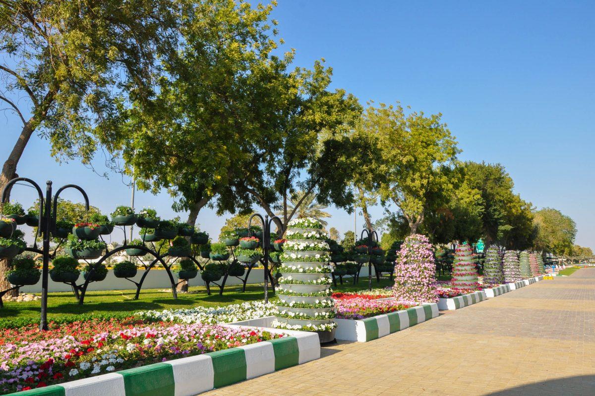 Größtes Highlight der Paradise Gardens von Al Ain, Abu Dhabi, sind seine unzähligen hängenden Blumentöpfe, die im Guinness Buch der Rekorde stehen, VAE - © Ritu Manoj Jethani / Shutterstock