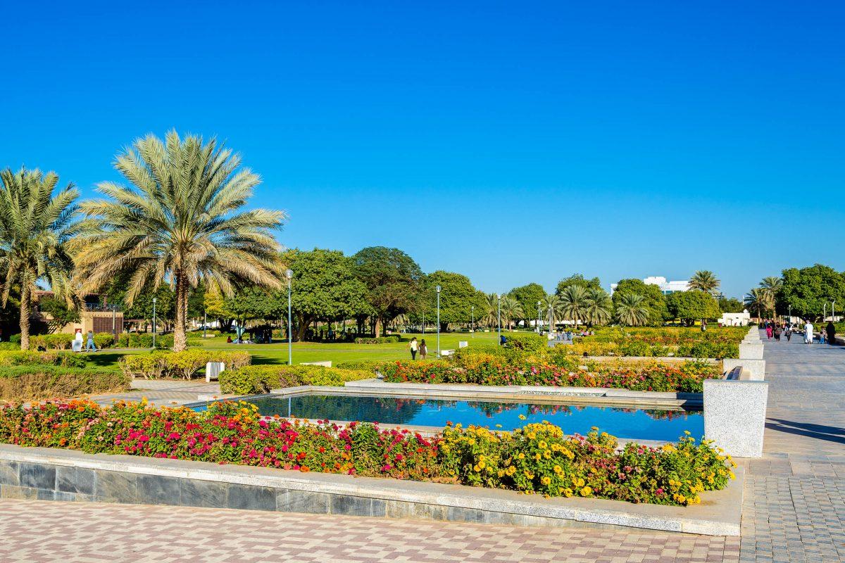 Neben der Al Jahili Festung in Al Ain, Abu Dhabi, breitet sich der Al Jahili Park aus, der auch als Frauenpark bekannt ist, VAE - © Leonid Andronov / Shutterstock