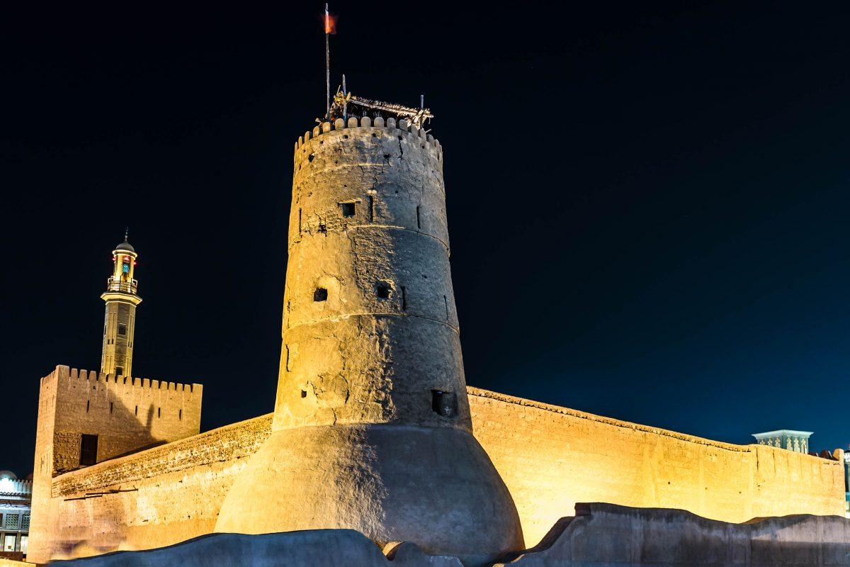 Im späten 18. Jahrhundert diente das al-Fahidi-Fort, heutiger Sitz des Dubai-Museums, als Grenzfestung, Waffenlager und Gefängnis, VAE - © Laborant / Shutterstock