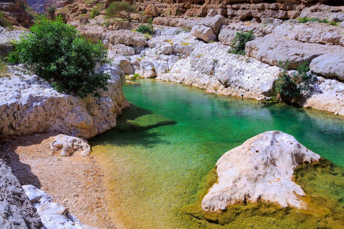 Über eine Stunde kann man an der paradiesischen Kulisse des Wadi Shab entlang spazieren, Oman - © Ivan Pavlov / Shutterstock