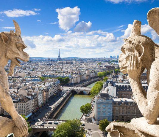 Die berühmten Wasserspeier in Form von Dämonen auf dem Dach von Notre Dame blicken auf Paris, Frankreich - © Jose Ignacio Soto / Fotolia