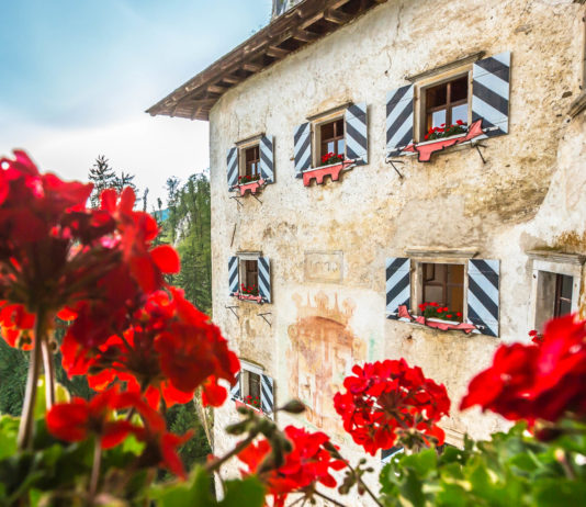 """Die Höhlenburg """"Predjamski grad"""" klammert sich wie ein Schwalbennest in eine 123m hohe Felswand, Slowenien - © Marcelo Alex / Shutterstock"""