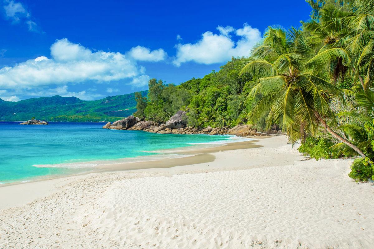 Der breite Sandstrand Anse Soleil auf der Seychellen-Insel Mahé bietet immer genug Platz für alle - © Simon Dannhauer / Shutterstock