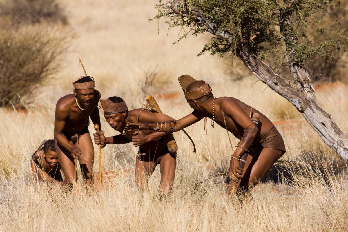 In der Kalahari lebt das kleinwüchsige Nomadenvolk der San, sie ernähren sich von Wurzeln, Früchten und dem Wild der Kalahari, Botswana, Südafrika, Namibia - © franco lucato / Shutterstock